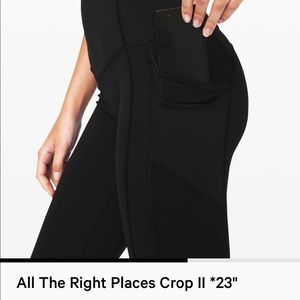 Lululemon All the Right Places Crop Blk sz 4